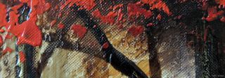 Oil Painting Abstract Red Tree Forest River Modern Art Decor 24x36