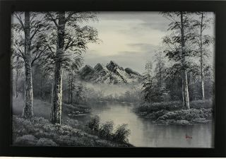 Mountains River Forest Trees Landscape Art Framed Oil Painting