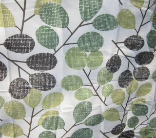 New Fabric Shower Curtain ~ Bold Mod Leaf Green Brown Black ~ White