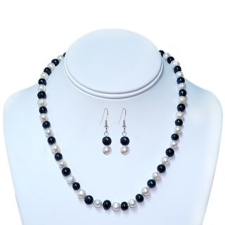 ring builder deals blue white freshwater pearl necklace earrings set