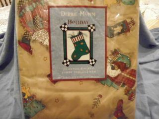 Debbie Mumm Christmas Holiday Flannel Backed Vinyl Tablecloth new