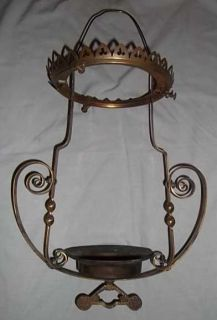 ANTIQUE VICTORIAN SOLID BRASS Oil Light Kerosene Lamp VTG HANGING