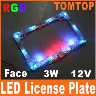 LED License Plate Flash Frame Motorcycle Car Colorful RGB Street Glow