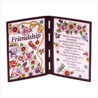 Friendship Poem Plastic Stained Glass Like Plaque