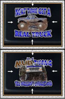 FORD 4X4 TRUCK CRUSHES CHEVY OR MUD THANG AUTO WINDOW WALL DECAL