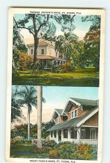Postcard 1934 ft Myers Florida Henry Ford Thomas Edisons Homes