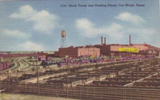 Fort Worth Texas Stockyards Packing Plants Factory Vintage Postcard