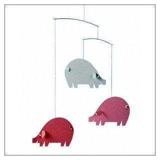 Piggy Mobile Pink and Light Blue by Ole Flensted for Flensted Mobiles