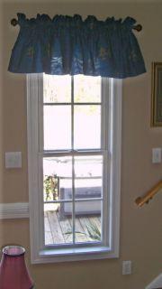Navy Royal Blue Fleur de Lis Window Curtain Valance New