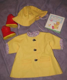 American Girl Bitty Baby Rainy Day Set Retired Raincoat Hat Boots Book