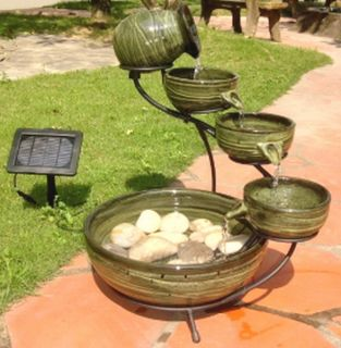 New Solar Powered Garden Water Fountain Feature Ceramic Multi Level