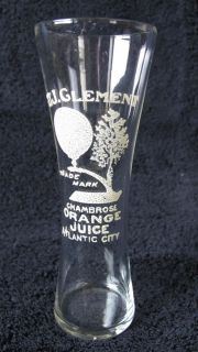 Orange Juice Soda Fountain Advertising Glass Rare c 1910 Atlantic City