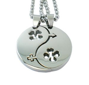New Silver Celtic Four Leaf Clover Couple Lovers Lucky Charm Pendants