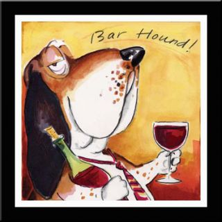 Bar Hound Dog Wine Art Framed Matted Tracy Flickinger