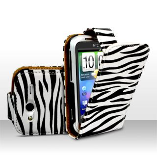 Zebra Style Leather Flip Case Cover for HTC Wildfire s Screen
