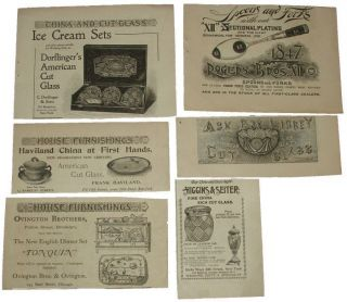 Antique Print Ad Lot Libbey Cut Glass Haviland China Rogers Bros