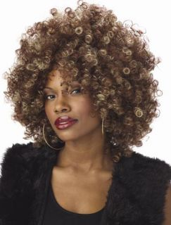 Womens Halloween Costume 70 Foxy Cleopatra Afro fro Wig