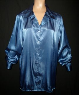 2X French Blue Shiny Liquid Satin Blouse Shirt Top New Plus 18W 20W