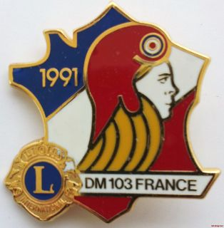 Lions Club Pin 1991 DM 103 France Lady Face Blonde Red Helmet French