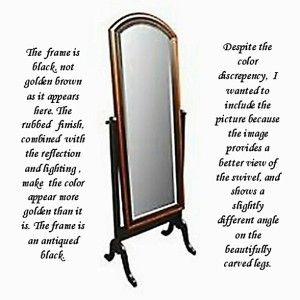 Style Cheval Distressed Black Full Length Standing Mirror