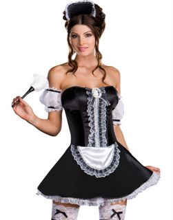 Sexy French Maid Plus Size Womens Halloween Costume Feather Duster Set