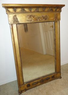 Fabulous Antique French Wood Framed Wall Mirror ~ Gesso Carving 19th