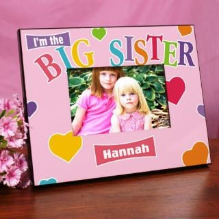 Pink Big Sister Heart Personalized Printed Frame