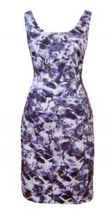 Inky Purple Black Floral Print Party Cocktail Dress Abigail Size 8