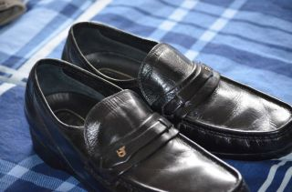 Mens French Shriner Dress Shoes Black leather loafers size 8
