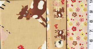 Quilting Quilt Fabric 3 Farm Fresh Baby Animal Brown Pink New