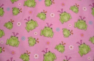Frogs Green Girl Frog on Pink Flowers Bows Dots Flannel