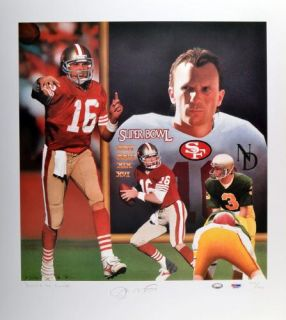 Signed Joe Montana Lithograph   LE of 1060   19x17.5   PSA/DNA