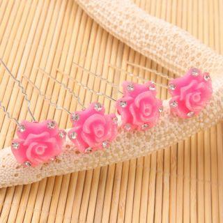 New 20pcs Charm Rose Red Flower Hair Pins Wedding Pins