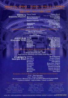 Immortal Opera Tosca Otello Carmen 3 Disc Box DVD New