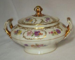 FRANCONIA Krautheim china DRESDEN FLOWERS pattern Sugar Bowl & Lid
