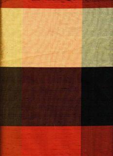 Kravet Duppioni Silk Buffalo Check Red Black Brown Drapery Fabric 1 5