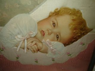 VICTORIAN BABY PICTURE Photograph Mourning framed 3D ~real curly hair