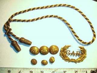 Old Vintage Gar Civil War Items Buttons Pin and Cavalry Hat Cord Band