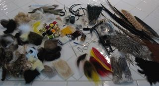 Huge Lot Fly Fishing Tying Material Feathers Tools Fur Quills Vice