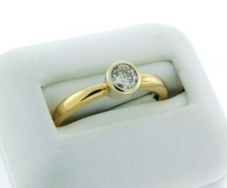 Beautiful Solid 14k Yellow Gold Bezel Set Diamond Solitaire Ring Size