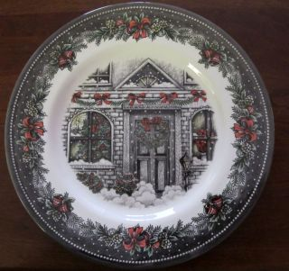 Royal Stafford Christmas Home Front Door 11 Dinner Plates Set of 4 New