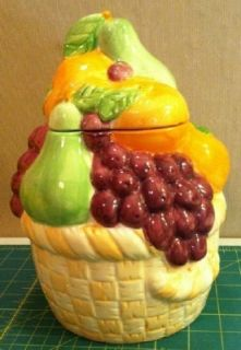 fruit basket ceramic cookie jar very colorful
