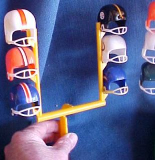1970s 26 NFL TEAM MINI FOOTBALL HELMET & GOAL POSTS DISPLAY AFC/NFC