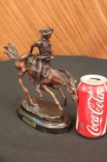 Frederic Remington Bronze Arizona Cowboy Horse Sculpture Signature