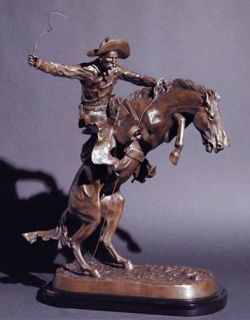 Bronco Buster by Frederic Remington Solid Bronze Statue Sculpture Free