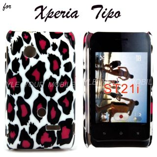 For Sony Xperia Tipo ST21I Pink Black Leopard Hard Shell Case Cover