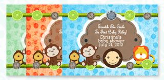 35 Baby Shower Birthday Invitations Jungle Monkey Polka Dots Zoo