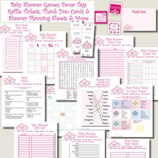 Princess Girl Baby Shower Games Pack Favor Tags Raffle Thank You Cards