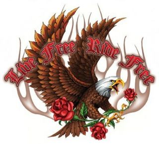 Live Free Ride Free Eagle Roses Sticker Vinyl Decal