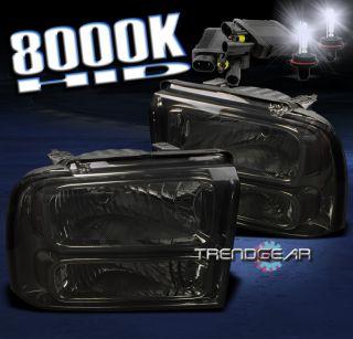 05 07 Ford Super Duty Excursion Smoke Crystal Headlights HID F250 F350